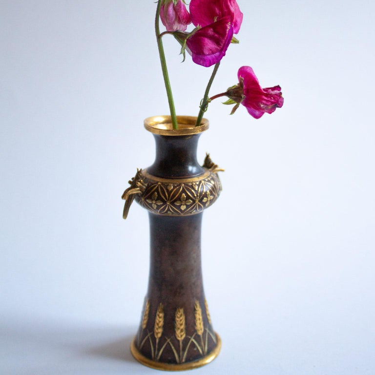 Late 19th Century Small Bronze Vase French Art Nouveau, Christofle et Cie by Emilé Reiber For Sale
