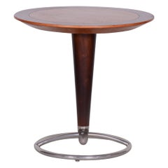 Small Brown Midcentury Beech and Ash Chrome Round Table from Czechia, 1960s