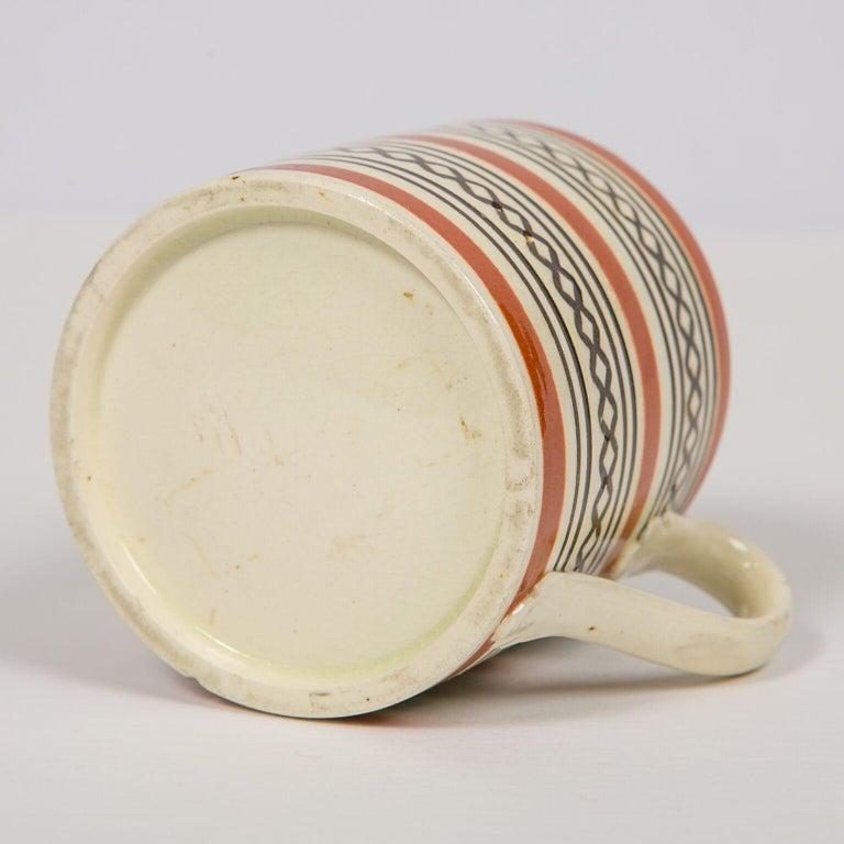 Folk Art Small Brown Mochaware Mug Made in England, circa 1820 For Sale