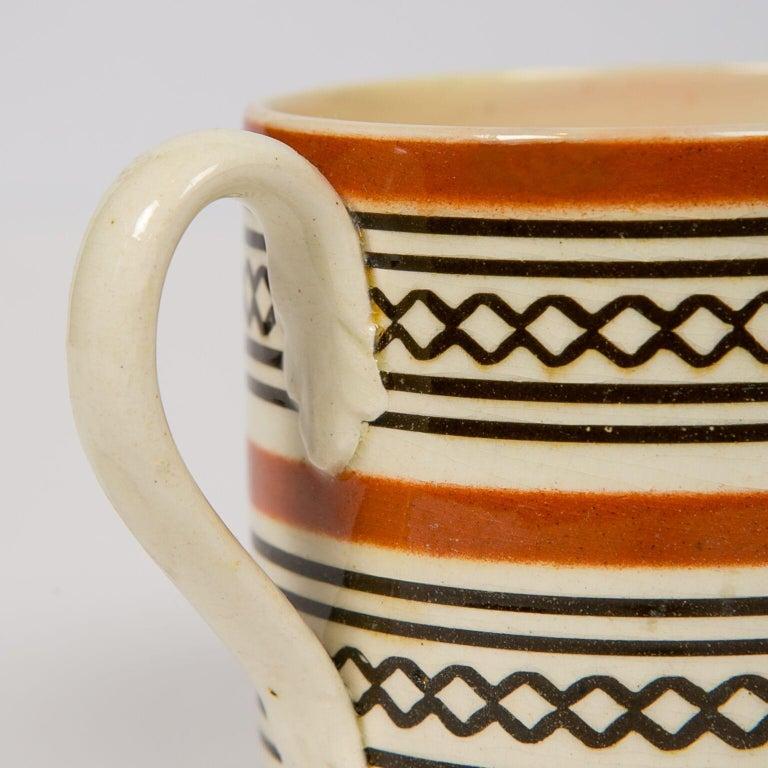 English Small Brown Mochaware Mug Made in England, circa 1820 For Sale