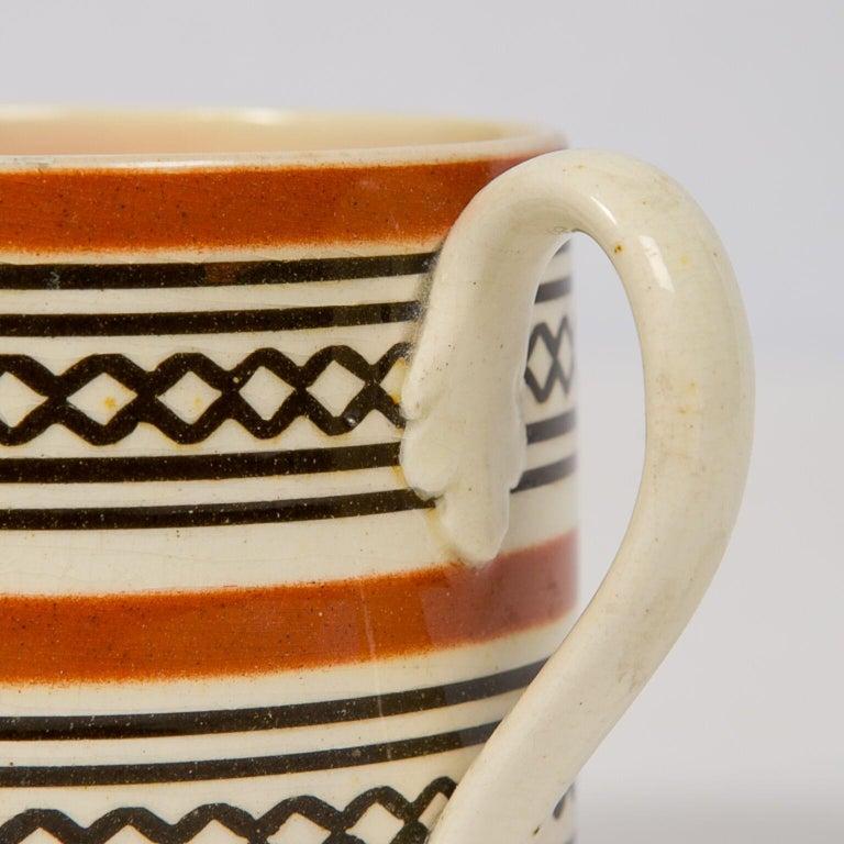Glazed Small Brown Mochaware Mug Made in England, circa 1820 For Sale