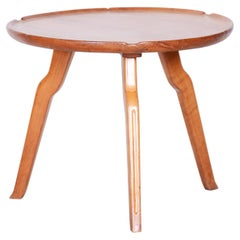 Small Brown Round Table, Czech Midcentury, Made Out of Cherry Tree, 1940s