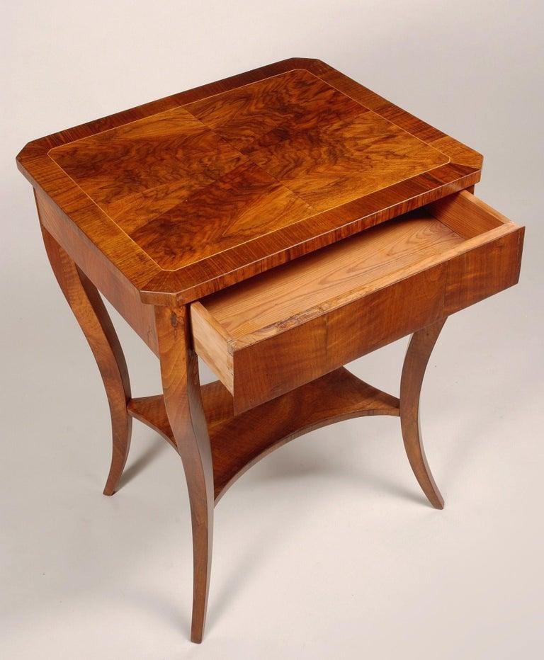 Biedermeier small table. Period: 1830-1839 Material: Walnut Source: Austria (Vienna) Shellac polished.