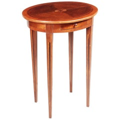 Small Brown Yew-Tree Classicism Inlaid Table, Italy, 1810s, Shellac Polished