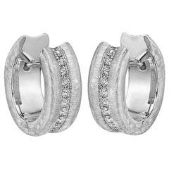 Small Brushed 18 Karat White Gold and Diamond Hoop Earrings