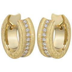 Small Brushed 18 Karat Yellow Gold and Diamond Hoop Earrings