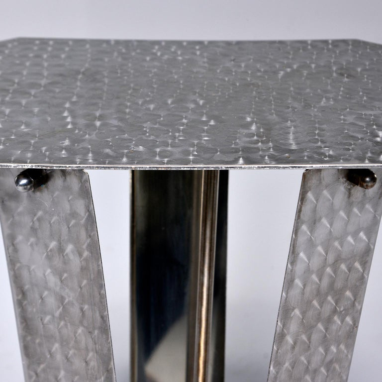 European Small Brushed and Patterned Steel Console or Stand For Sale