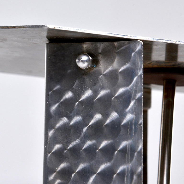 20th Century Small Brushed and Patterned Steel Console or Stand For Sale