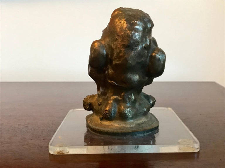 20th Century Small Brutalist Bronze Grotesque Sculpture For Sale