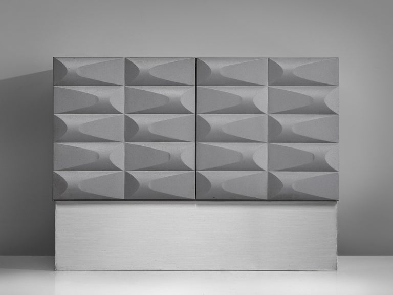 Belgian Small Brutalist Cabinet in Soft Grey For Sale
