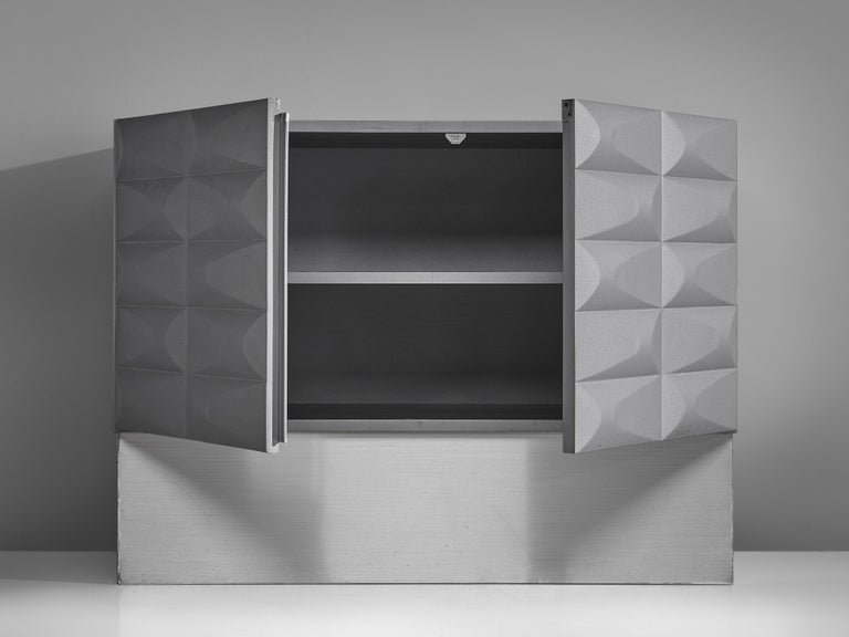 Aluminum Small Brutalist Cabinet in Soft Grey For Sale