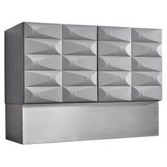 Small Brutalist Cabinet in Soft Grey