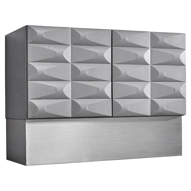 Small Brutalist Cabinet in Soft Grey For Sale