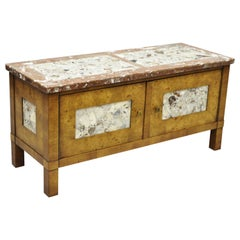 Small Burl Walnut Marble Top Hollywood Regency Low Hall Cabinet by Tomlinson