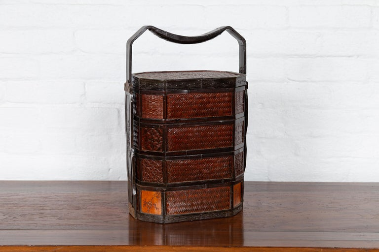 Rattan Small Burmese Vintage Stacking Picnic Basket with Lacquered Accents and Handle For Sale