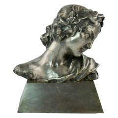 Small Bust of a Woman Head Made of Silvered Bronze