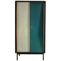 Small Cabinet with Blue/Grey Metal Doors by Van Der Meeren, Belgium, 1950s