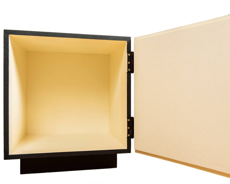 Mid-Century Modern Small Cabinet with Vintage Brutalist Style Door Front after Paul Evans For Sale