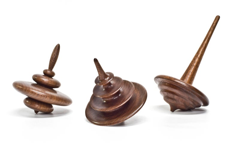 Small Cairn Elemental Spinning Top in Oiled Walnut by Alvaro Uribe for Wooda In New Condition For Sale In Omro, WI