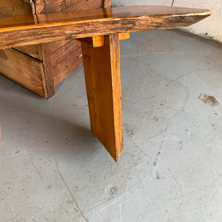 Small Californian Live Edge Bench in Solid Wood For Sale 10