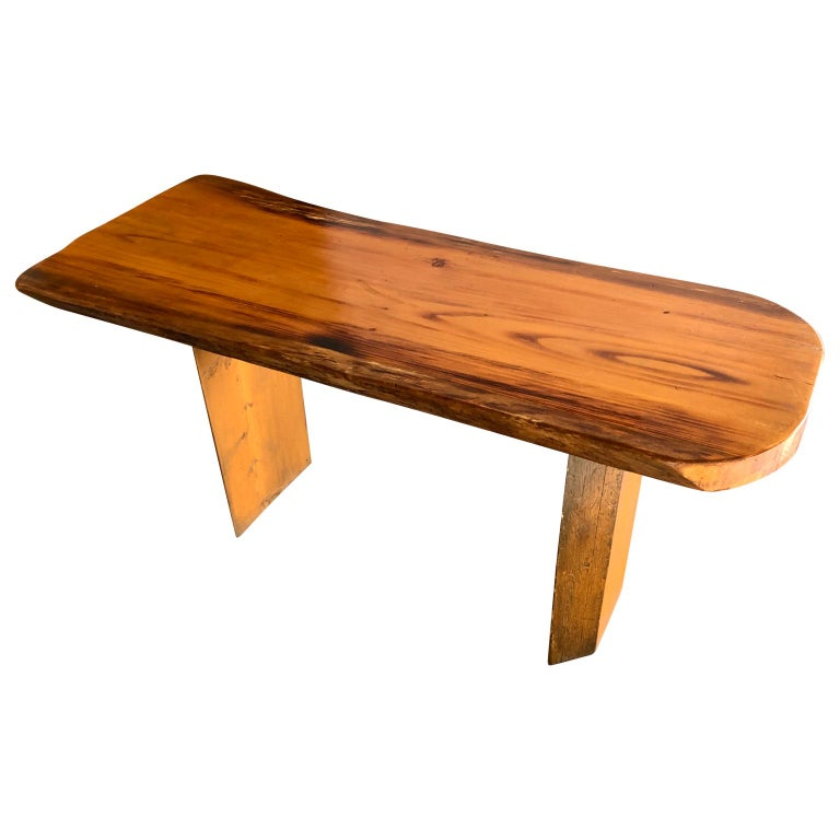 American Small Californian Live Edge Bench in Solid Wood For Sale