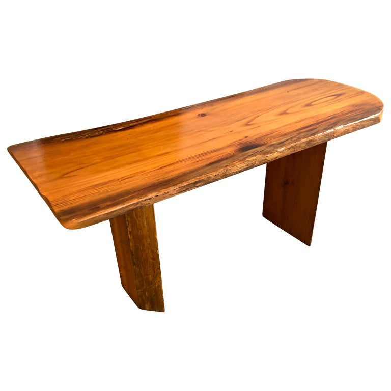 Hand-Crafted Small Californian Live Edge Bench in Solid Wood For Sale