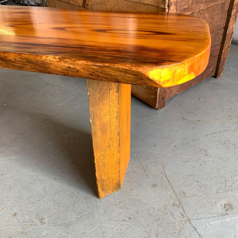 Small Californian Live Edge Bench in Solid Wood For Sale 2