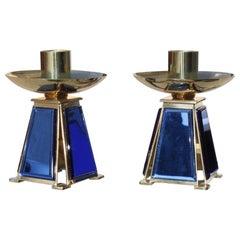 Small Candlesticks Midcentury Italian Design Brass Gold Blu Cobalto Mirror