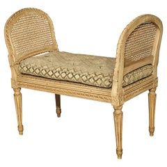 Small Caned and Painted Louis XVI Style Banquette, Circa 1890