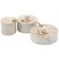 Small Caracol Keepsake Box in Silver Bronze and White Marble from Elan Atelier