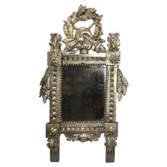 Small Carved and Silver Gilt Louis XVI French Provincial Mirror