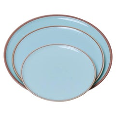 Small Celadon Glazed Porcelain Hermit Plate with Rustic Rim