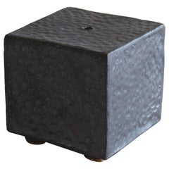 Small Ceramic Contemplation Cube, Mottled Surface in Metallic Black-Brown Glaze