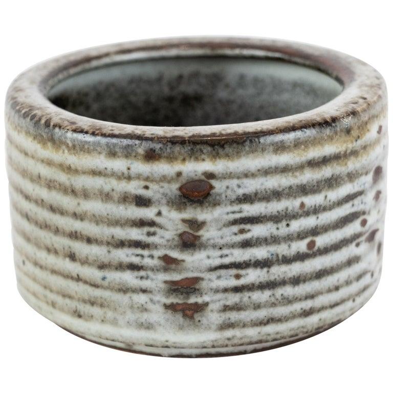 Small Ceramic Jar in Dark Colors by Saxbo For Sale