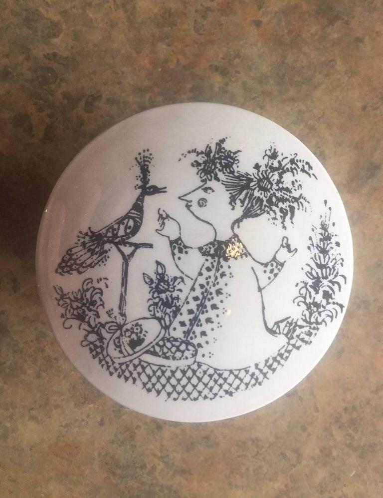 Mid-Century Modern Small Ceramic Lidded Box / Dresser Jar by Bjorn Wiinblad for Nymolle of Denmark For Sale