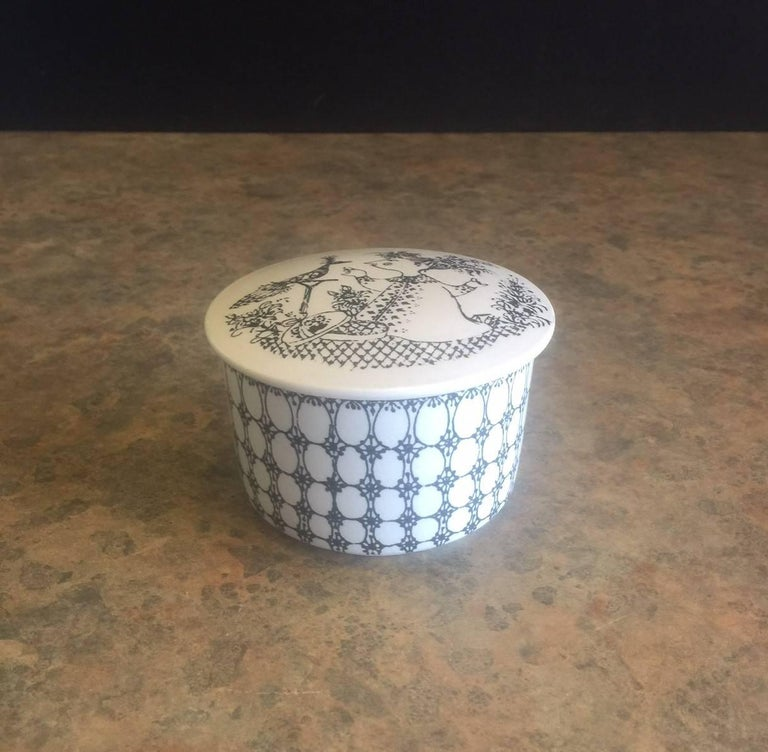 Danish Small Ceramic Lidded Box / Dresser Jar by Bjorn Wiinblad for Nymolle of Denmark For Sale