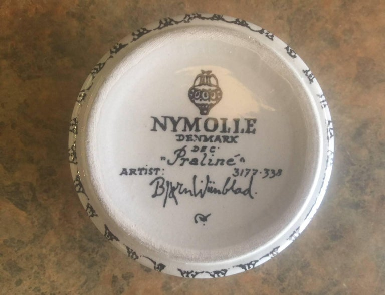 Small Ceramic Lidded Box / Dresser Jar by Bjorn Wiinblad for Nymolle of Denmark In Excellent Condition For Sale In San Diego, CA