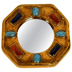 Small Ceramic Mirror by Marc Roussel, Vallauris, France