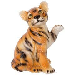 Small Ceramic Tiger Decorative Sculpture, Italy, 1960s