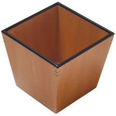 Gae Aulenti Small Cestino Portacarta Wood Wastepaper Basket for Bottega Ghianda