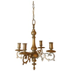 Small Chandelier 17th Century in Bronze 4 Arms