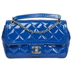 Small CHANEL Flap Bag in Electric Blue Quilted Patent Leather