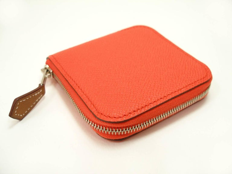 db2335e7b4ad Small Change Coin Purse Hermés silk in Etriers 654 Orange Poppy   Brand New  For