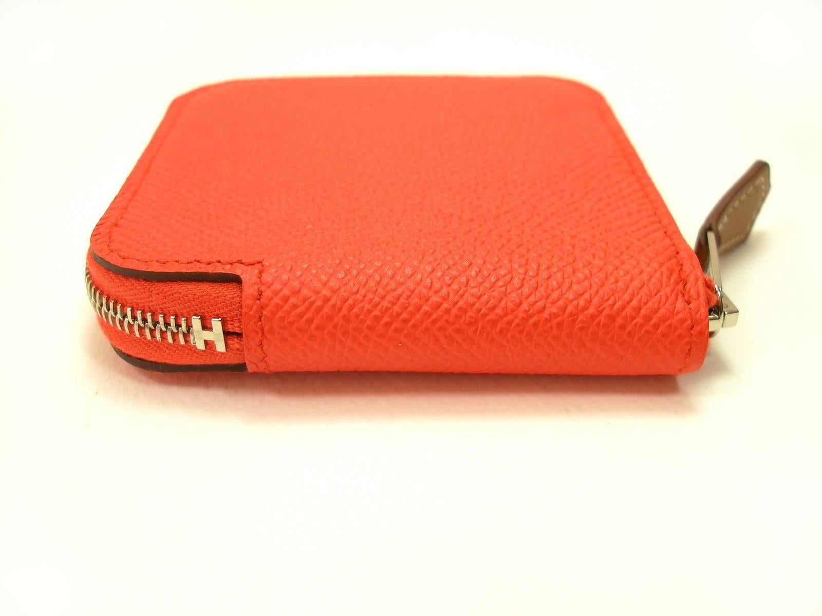 8070ca81326f Small Change Coin Purse Hermés silk in Etriers 654 Orange Poppy   Brand New  at 1stdibs