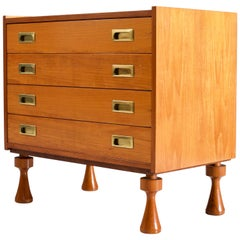Small Chest of Drawers in Walnut and Brass, France, 1960s
