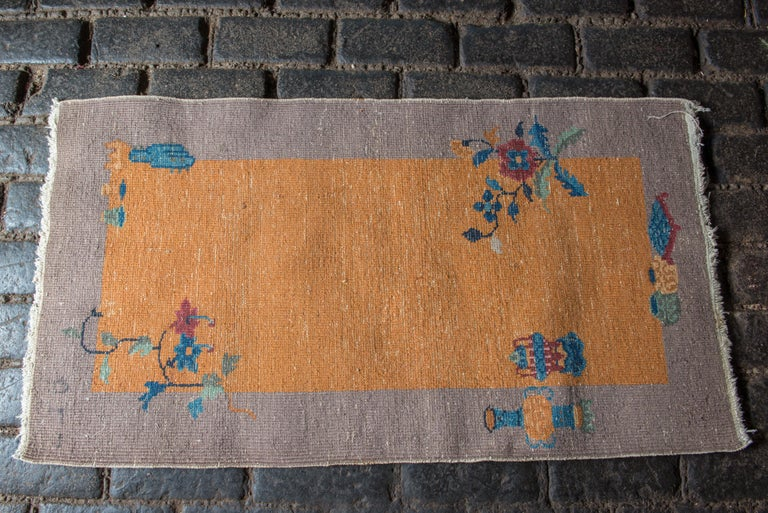 Early 20th Century Small Chinese Art Deco Rug For Sale