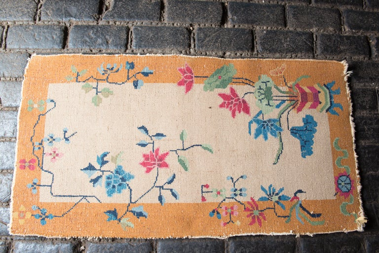 Wool Small Chinese Art Deco Rug For Sale
