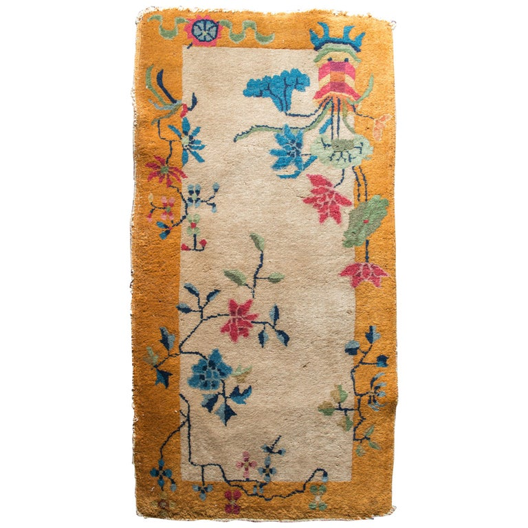 Small Chinese Art Deco Rug For Sale