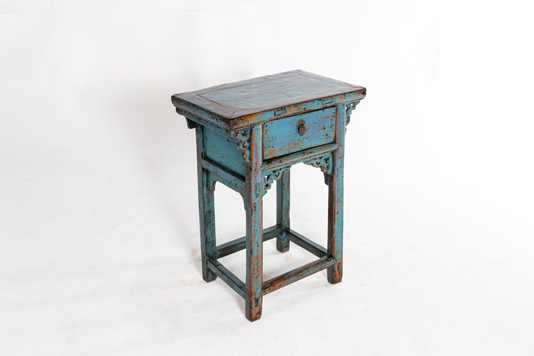 Metal Small Chinese Console Table with Drawer For Sale