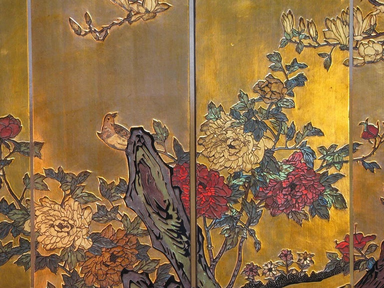 Chinese Export Small Chinese Coromandel and Lacquer Four-Fold Screen, Mid-20th Century For Sale